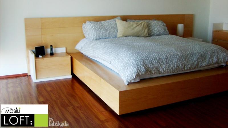 Recamaras muebles contemporaneos minimalistas for Cama queen size con cajones