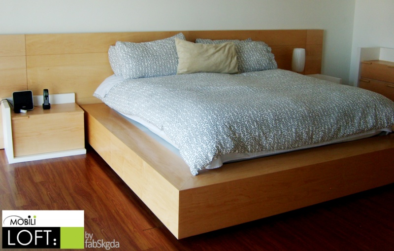 Recamaras muebles contemporaneos minimalistas for Base de cama queen size con cajones